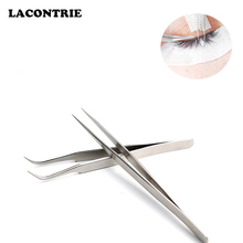 1/2 stücke Falschen Wimpern Verlängerung Pinzette Make-Up Edelstahl Nicht-magnetische Pincet Falsche Wimpern Pinzette 3D Genaue Pinzette