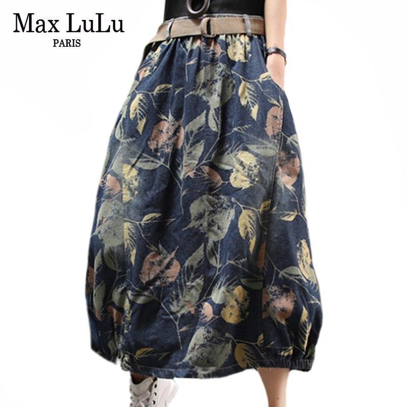 Max LuLu Spring British Fashion Womens Vintage Denim Skirts Ladies Printed Elastic Skirt Female Floral Loose Clothing Big Size