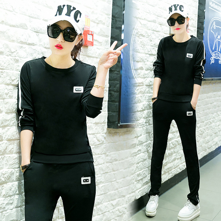 119 # Spring And Autumn Casual WOMEN'S Suit Fashion Large Size Sports Clothing Long Sleeve Round Neck Sweater Running Two-Piece
