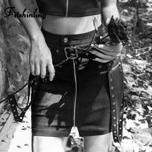 Fitshinling 2019 Autumn Black Skirts Womens Clothing Zipper Belt Goth Dark Jupe Femme Harajuku High Waist Pencil Skirt Solid New