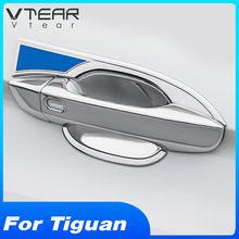 Vtear-cubierta de protección para manija de puerta de coche, embellecedor, pegatina de modificación Exterior, ABS cromado, para VW Tiguan MK2 2020 2019