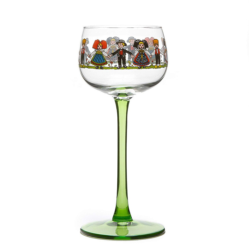 180Ml Ins Wine Glass Vintage Kawaii Alsatian Style Small Man Nordic Sweet Pole Whiskey Cup Gold Foil Vodka Multi-Purpose Goblet