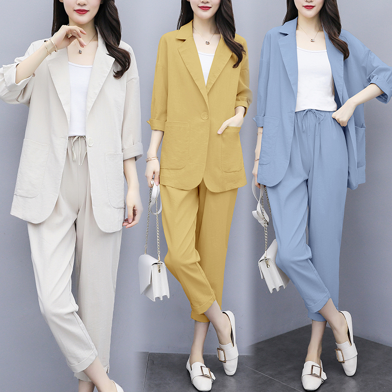 Women's Plus Size Two-piece Pants Suit Spring Autumn Temperament Was Thin Small Casual Cropped Sleeves Loose Pants Suit Z163