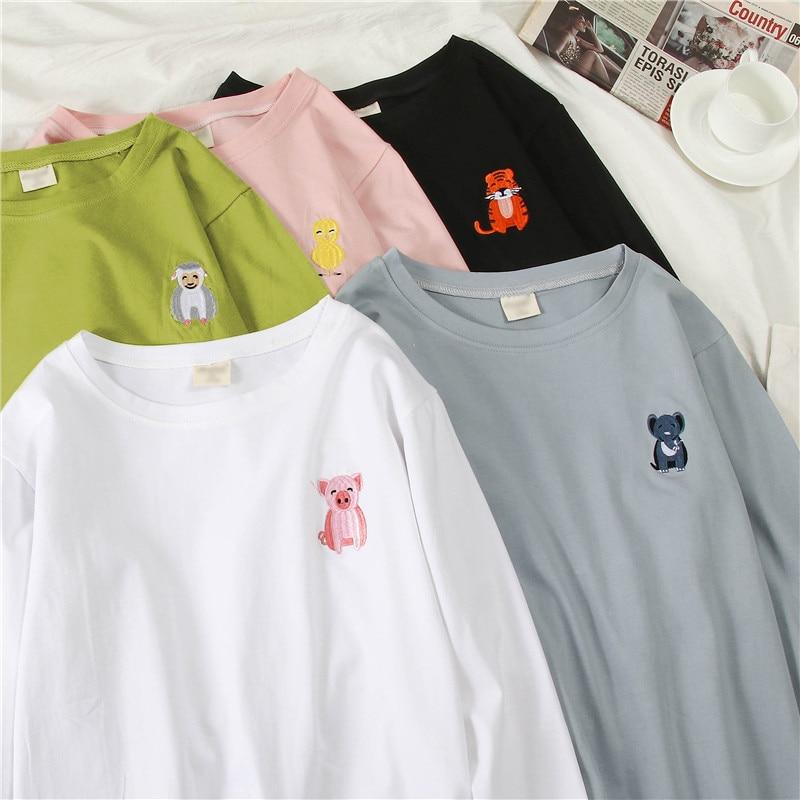 Koreański kreskówka haft luźny, w stylu basic t shirt jesień z długim rękawem proste t-shirty dla kobiet harajuku Kawaii funny student tshirt 4