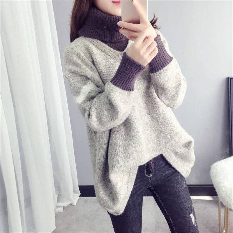 2019 Autumn And Winter New High Collar Bottoming Sweater Loose Long Sleeve Stitching Pullover Sweater Women