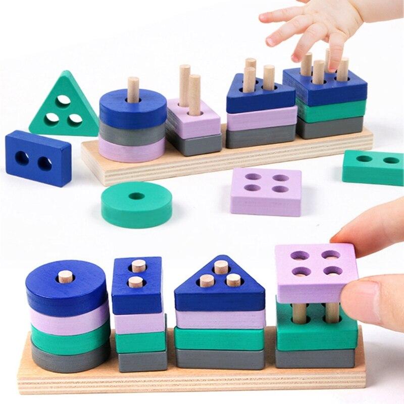 Мини деревянная игрушка Монтессори строительные блоки Обучающие Игрушки для раннего развития Цвет Форма матч познание детские игрушки для...