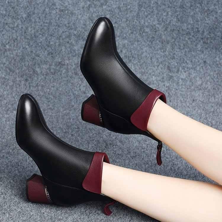 Yeni Kadın Botları 2019 Sonbahar Yüksek Topuklu Kadın Ayak Bileği Ayakkabı Boyutu 35-42 Yay siyah çizmeler Moda Ofis Deri Çizmeler