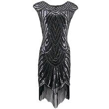 Women 1920s Diamond Sequined Embellished Fringed Great Gatsby Flapper Dress Cap Sleeve Retro Midi Party Dress Ukraine Vestido