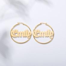 Custom Name Earrings Stainless Steel Personalized Old English Hoop Woman Bijoux Earring Jewelry Accessories