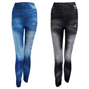 Image 1 - Mới 2020 Phụ Nữ Mùa Thu Quần Legging Giả Jean Skinny Slim Mỏng Cao Co Giãn Quần Bút Chì Đen Denim Quần Legging Nữ Plus kích Thước