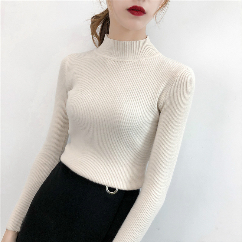 Hot Sweater Women Half Turtleneck Knitted Pullover Winter Clothes Women Long Sleeve Solid Fashion Striped Girls Sweaters
