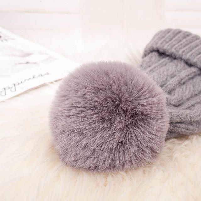 Fashion Warm Knitted Women's Hat Striped Winter Hats For Women Pink Fur Pompom Wool Beanies Thick Skullies Cap faux Pom pom Hat 4