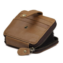 Augus Hot Selling Genuine Leather Mens Fashion Short Wallet Business Card Holder R-8446