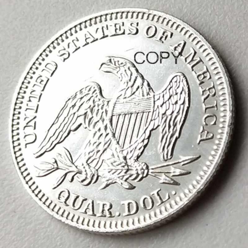 USA 1854 Ngồi Liberty Khu Phố Đô La Mạ Bạc 25 Xu Chép Đồng Xu