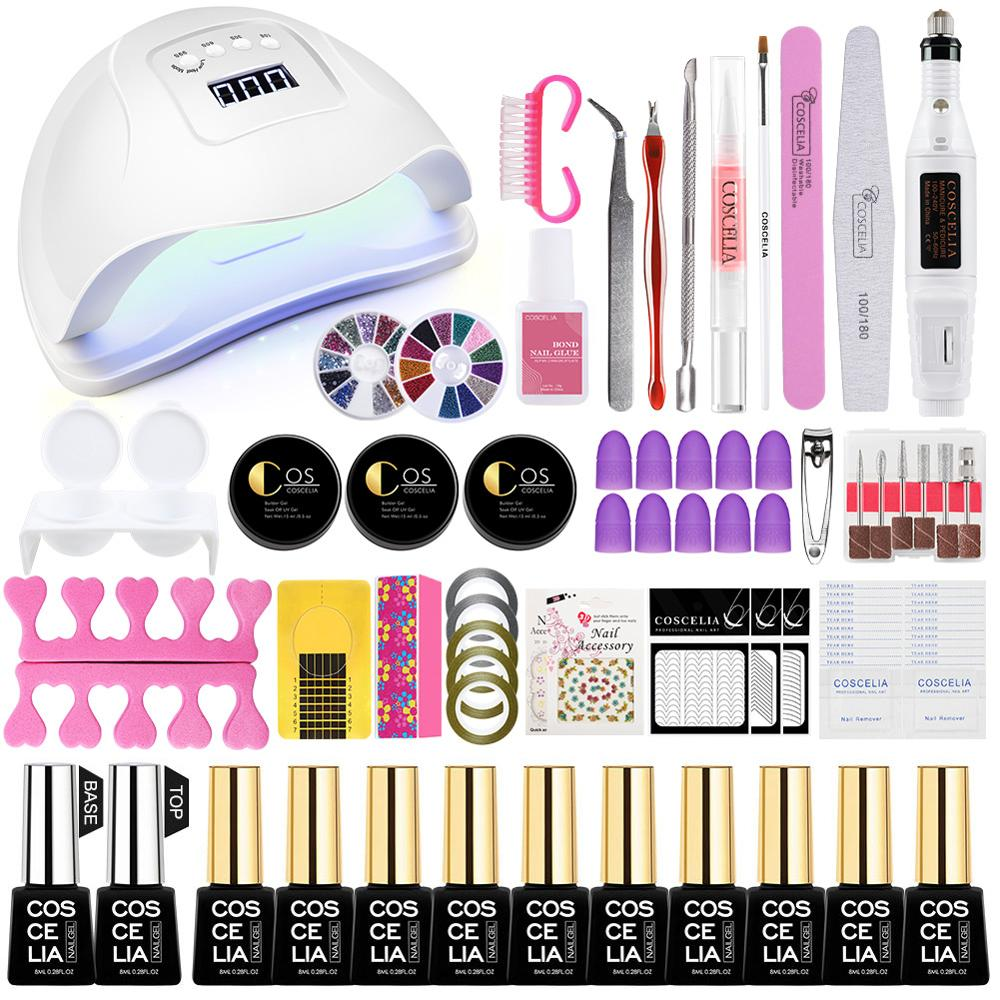 Gel Polish Nail Art Manicure Tools Kit UV LED Nail Lamp Dryer Colors Gel Polish DIY Tool Nail Drill Machine Kit All For Manicure