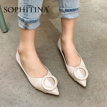 SOPHITINA New Flats Women Pointed Toe Circle Belt Decoration Slip-On Comfortable Handmade New Shoes Shallow Hot Sale Flats PO524