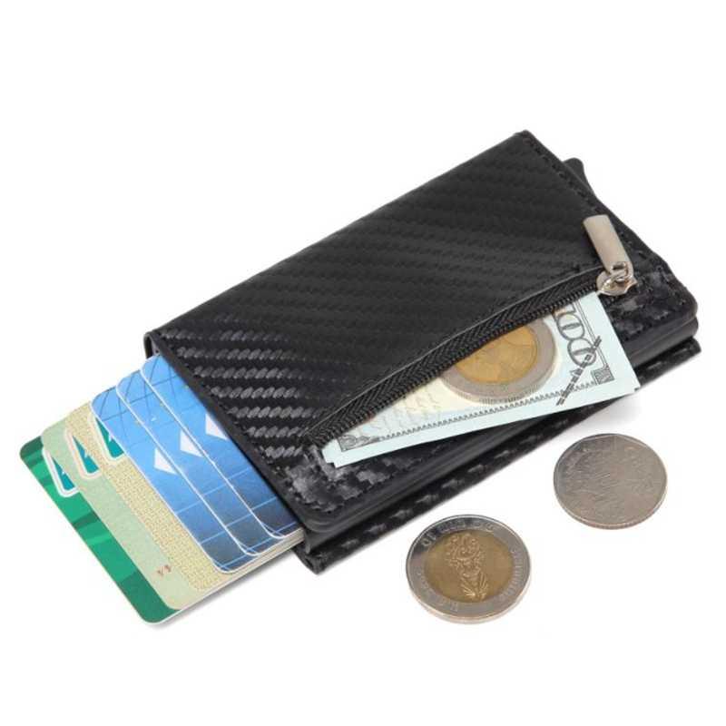 บัตรเครดิต 2019 ใหม่กล่องอลูมิเนียมกระเป๋าสตางค์ RFID หนัง PU Pop Up แม่เหล็กคาร์บอนไฟเบอร์เหรียญกระเป๋า