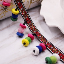 1Yards/Lot Ethnic silk tassel fringe trim Embroidery Lace Trim Tassels for Jewelry Diy Sewing Clothes Fabric Ribbon