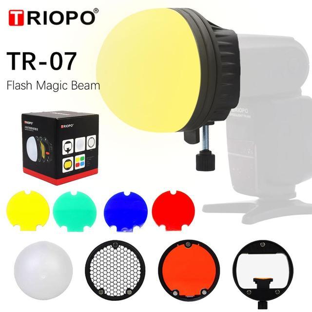 Triopo TR 07 magdome cor filtro refletor favo de mel difusor bola foto acessórios kits para godox yongnuo flash substituir