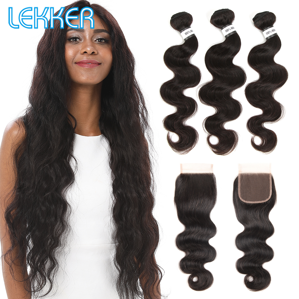 Lekker Body Wave Bundles With Closure Remy Human Hair Peruvian Hair Bundles With Closure Hair Extension Human