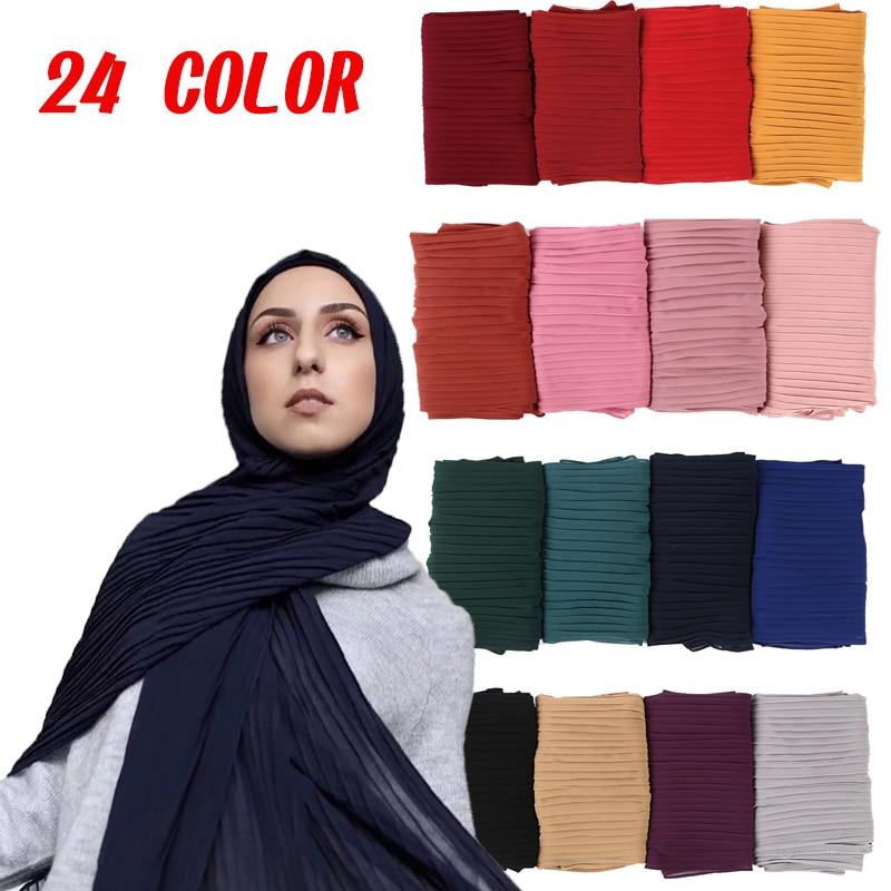 Fashion Plain Pleat Bubble Chiffon Wrinkle Long Stripe Shawls Hijab Crumple Muslim Scarves/scarf Big Size Chiffon Scarf