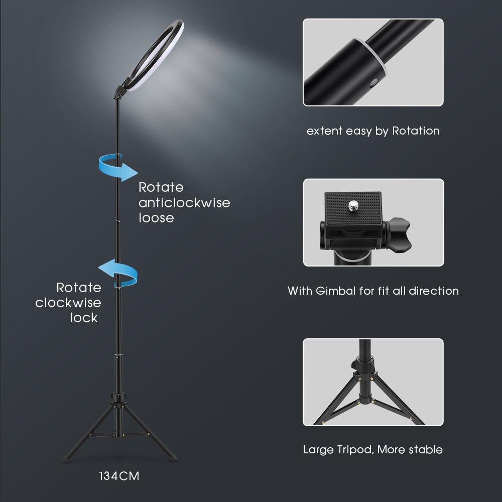 Selfie ring light fotografía luz led borde de lámpara con soporte - Cámara y foto - foto 6