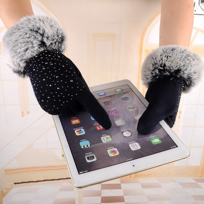 Frosted Shiny Non-fleece Gloves Female Autumn And Winter Plus Velvet Warm Gloves Driving Riding Outdoor Touch Screen Gloves