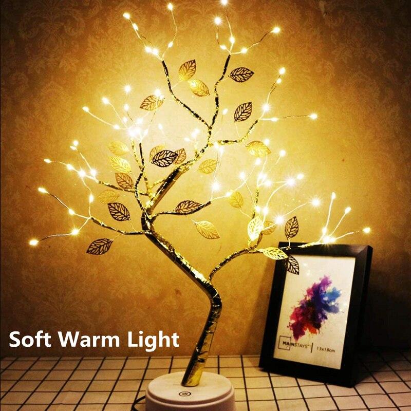 Светодиодный сказочный ночник, настольная лампа с медной проволокой, мини-гирлянда на рождественскую елку, лампа с питанием от USB, светильни...