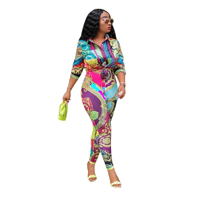 2019 Autumn Runway Pants Suit Sets Women's Vintage Print Blouses And Casual Pants Two Pieces Set Tracksuit Outfit