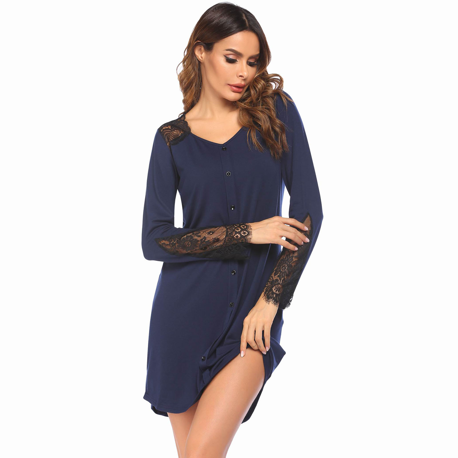 Sexy Plus Size Women Nightgown Lingerie Lace Stitching Nightdress Ladies  Solid Color Casual Nightgown Women Home Colthing