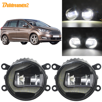Buildreamen2 Car Accessories LED Projector Fog Light + DRL Daytime Running Lamp H11 12V For Ford Grand C-Max MPV 2010-2015
