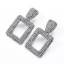2019 New Arrival Occident Fashion Geometric Square Rhinestone Drop Earrings Bohemia Personality Big Pendients Women jewelry
