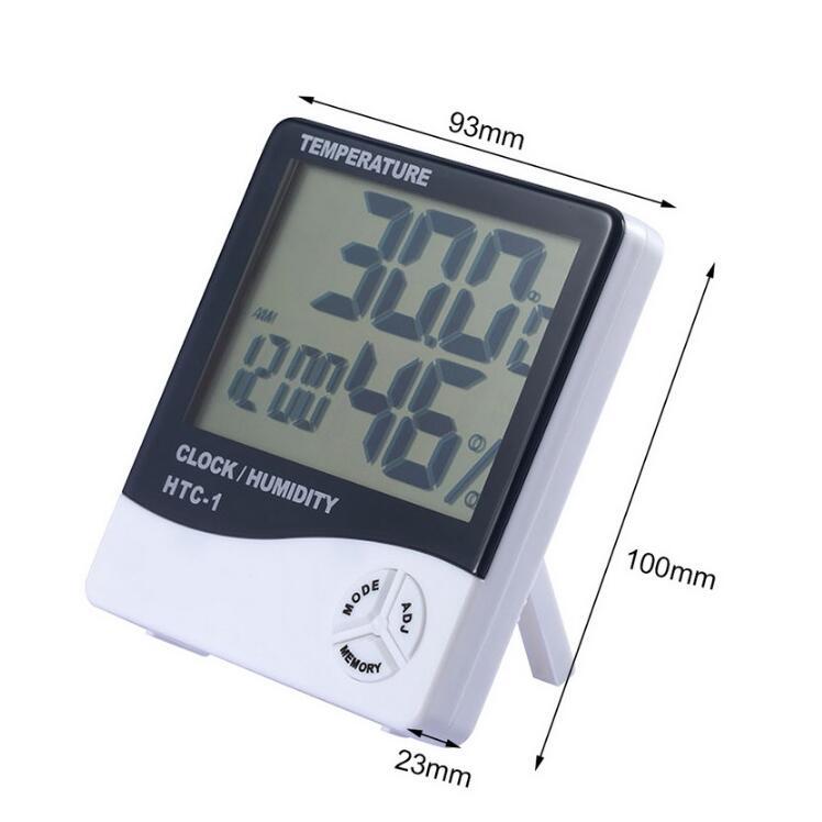 Digital Humidity LCD Clock Thermometer Temperature Meter Hygrometer Indoor