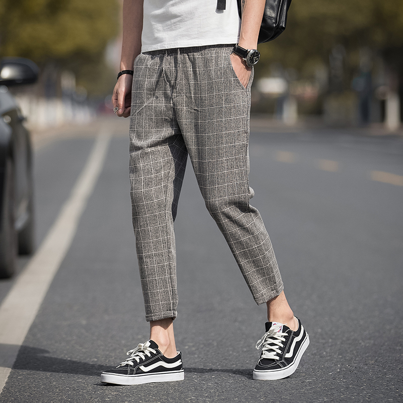 Ankle-Length Linen Plaid Pants Men Trousers Hip Hop Jogger Pants Men Sweatpants Streetwear Men Pants 2020 New