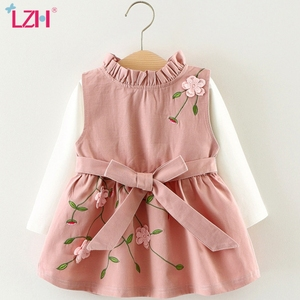 LZH 2020 New Autumn Baby Girls Casual Cotton Shirt+Strap Dresses For Baby Princess Dress Newborn Baby Clothes Infant 2pcs Dress