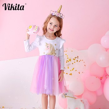 VIKITA Brand Girls Unicorn Tutu Dress Kids Princess Vestido Girls Birthday Party Dress Children Autumn Winter Unicorn Costumes vikita girls unicorn dress princess tutu dress for girls children birthday party licorne vestidos kids autumn winter dresses