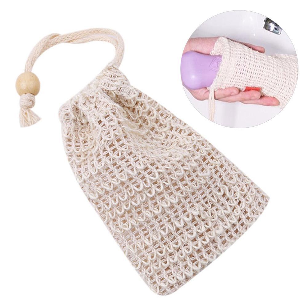 1/2/4Pcs Portable Soft Cotton Linen Soap Saver Foaming Bubble Maker Face Cleaning Massage Exfoliating Bag