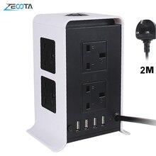 Kule güç şeritleri dalgalanma koruyucusu uzatma kabloları 2M/9.8ft aşırı yük koruması ile 8 yönlü çıkışları 4 USB bağlantı noktaları ev ofis için
