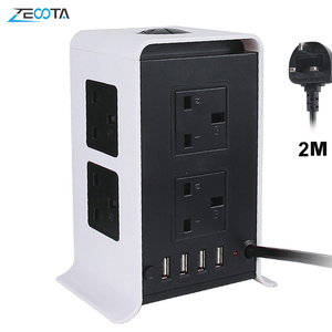Image 1 - Tower Power Strips Surge Protector Extension Leads 2M/9.8ft Overload Protection with 8 Way Outlets 4 USB Ports for Home Office