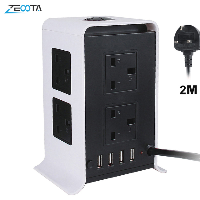 Tower Power Strips Surge Protector Extension Leads 2M/9.8ft Overload Protection with 8 Way Outlets 4 USB Ports for Home Office