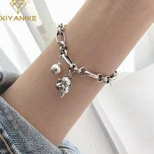XIYANIKE – Bracelet en argent Sterling 925 pour femme, bijou avec chaîne en forme de chat porte-bonheur, Design Unique, style rétro thaïlandais, à la mode