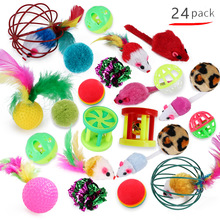 24 Pcs Kawaii Colorful Wear Resistant Durable Chew Toys for Pet Cat Playing Scratch Chew Kitten Pet Toys Cat Toys Interactive solid color wood wear resistant durable chew toys for pet cat amusement intelligent cat toys interactive pet supplies kitten
