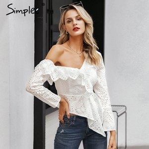 Image 1 - Simplee Sexy one shoulder women blouse shirt Ruffled lace embroidery female asymmetrical tops Streetwear ladies white blouses