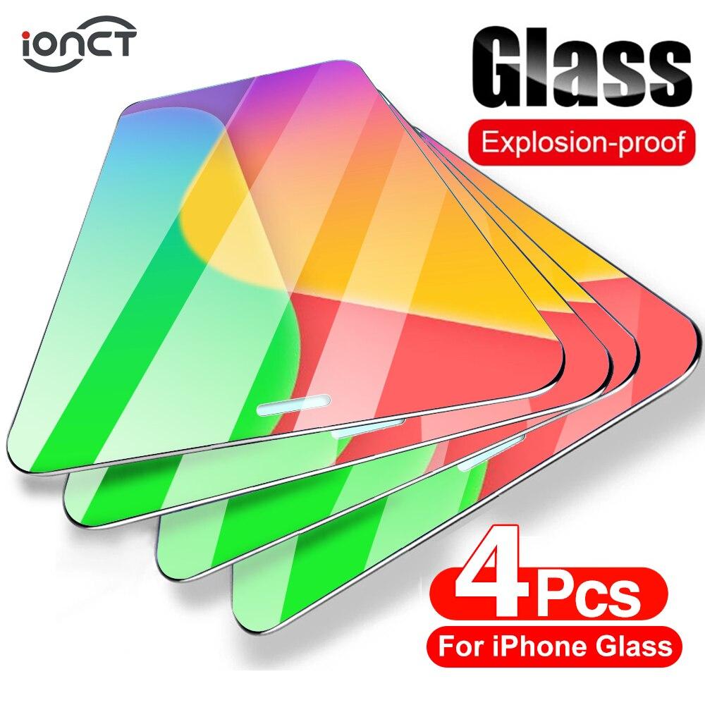 iONCT 4 Pièces ecran verre trempe Pour iPhone 12 7 8 6 Plus SE 2020 screen protector vitre verre trempé Pour iPhone X XS XR 11 12 Pro Max 12 Mini protege ecran protection