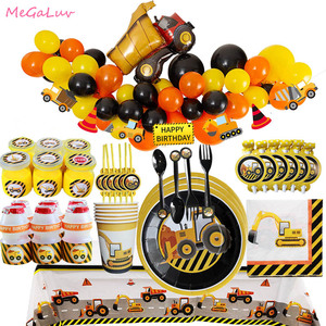 Construction Tractor Birthday Party Tableware Truck Ballon Vehicle Banner Tablecloth Napkin Cake Topper Construction Party Decor