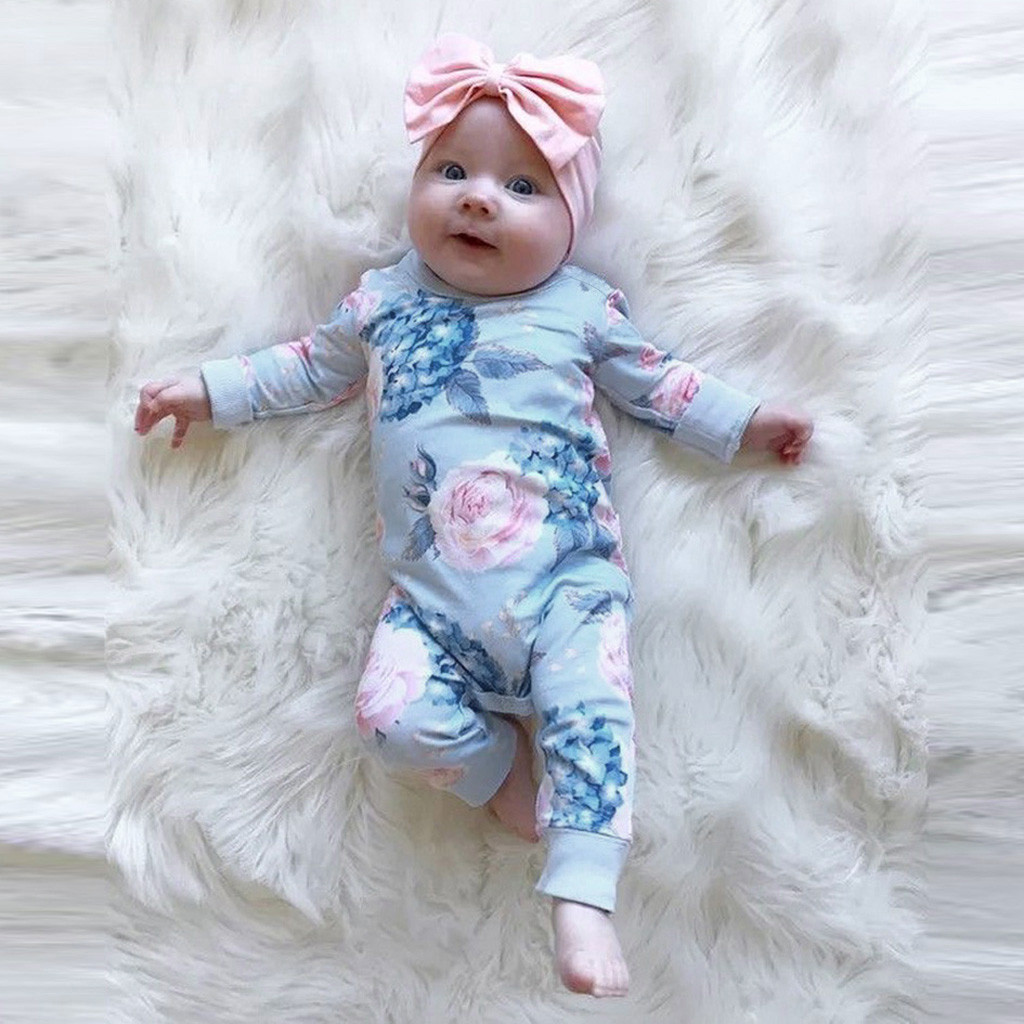 Floral Romper Bow-Hair-Band Spring Baby Jumpsuit Summer Clothes Long-Sleeve Photo Born-Girl title=