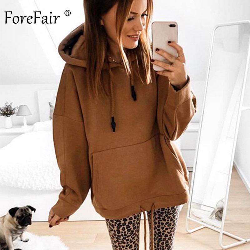 Forefair Oversized Hoodies Women Autumn 2019 Solid Hooded Big Pocket Woman Casual Plus Size Hoodie Sweatshirt