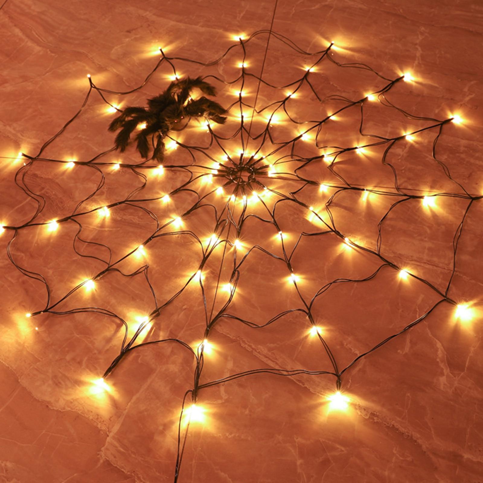 led aranha web luz halloween arvore cerca 04
