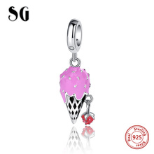 925 Sterling silver Strawberry ice cream beads pink enamel charms Fit Pandora Bracelet Pendant Fashion Jewelry for Women Gift