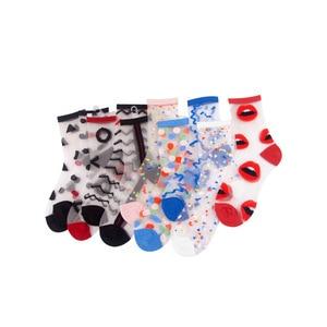 Image 5 - Spring Summer Ultra thin Glass filament Socks Woman Printing Dots Korean Style Silk Socks Cute Stripe Transparent Socks
